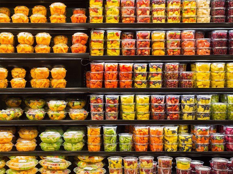 Emballages en plastique thermoformé au supermarché
